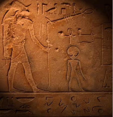Depiction of a Gray alien on an Egyptian bas-relief