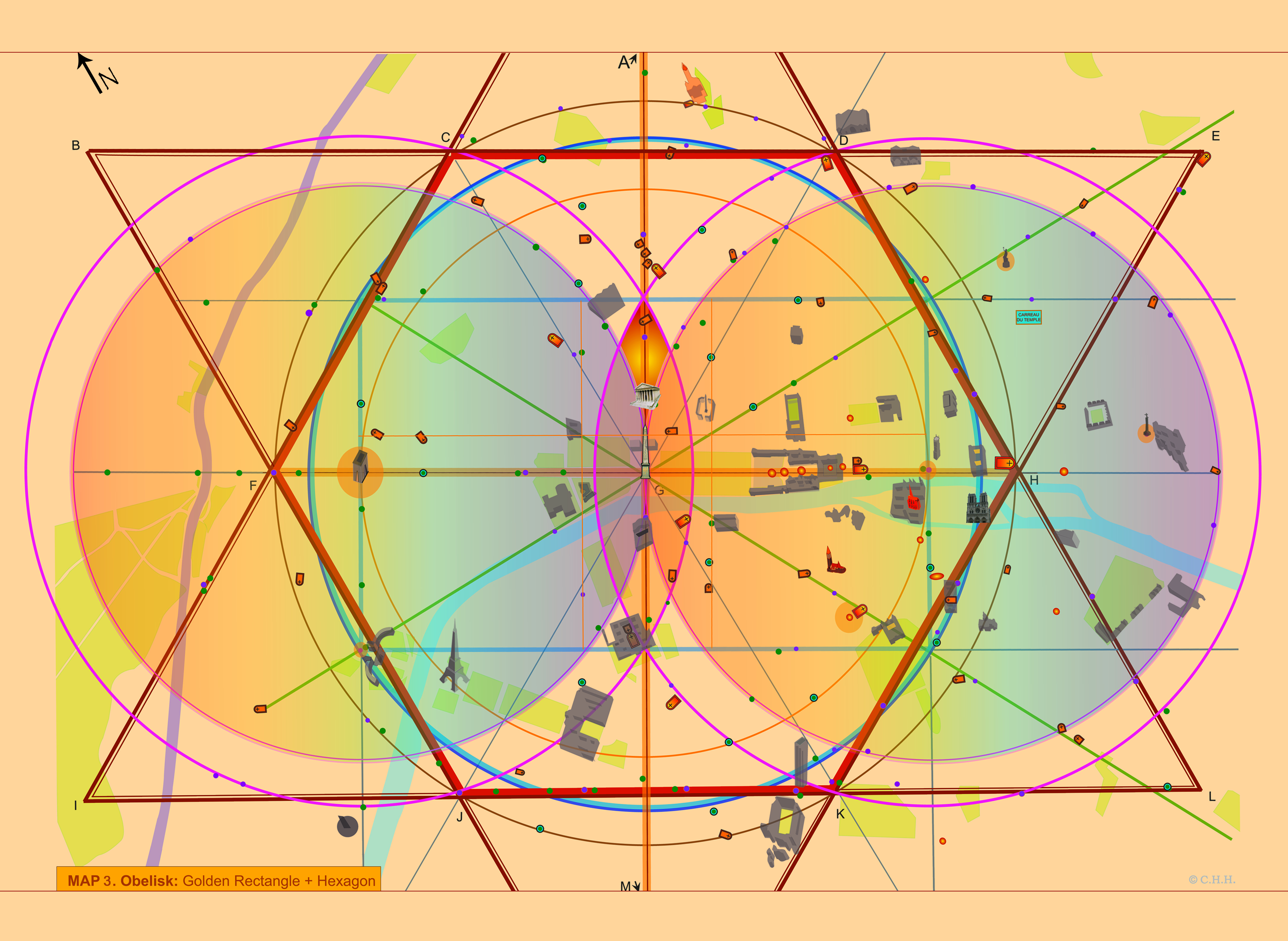 The Sacred Network - Chris H. Hardy: The Magdalene Mandorle in Paris, embedded in a Golden Rectangle + Hexagon